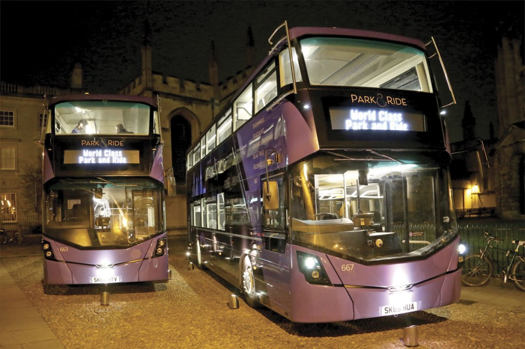 The new purple park and ride buses were displayed in the courtyard opposite the Radcliffe Camera