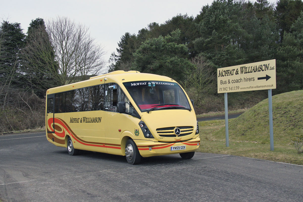 This Mercedes-Benz Vario Plaxton Cheetah is photographed on the access road to the St Fort depot