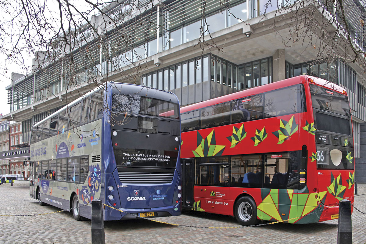 Outside the QE2 Conference Centre were Optare's Metrodecker EV and Scania's biomethane powered double-decker with ADL Enviro400 MMC body