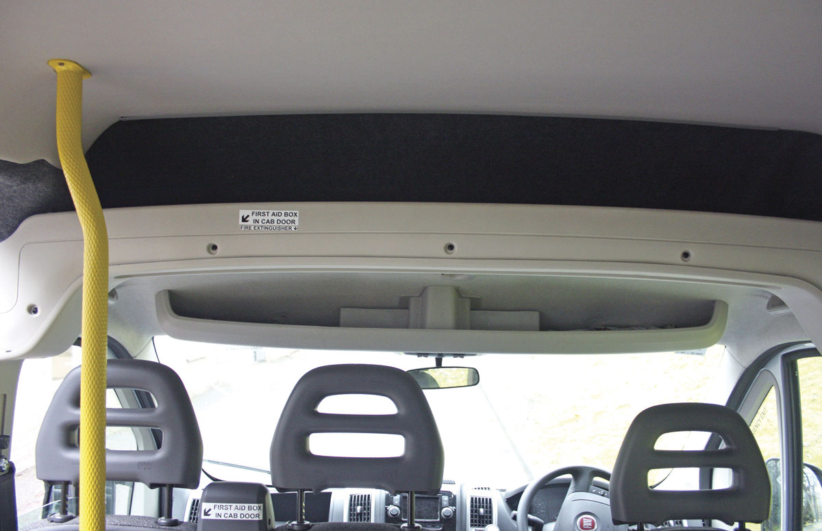 Overhead storage above the windscreen