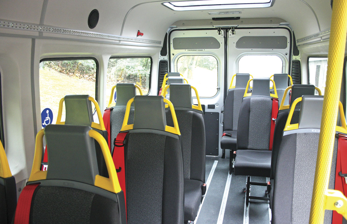 The interior with 14 Urban track mounted seats with NMI quick release fixings. Alternatively up to four wheelchairs can be carried