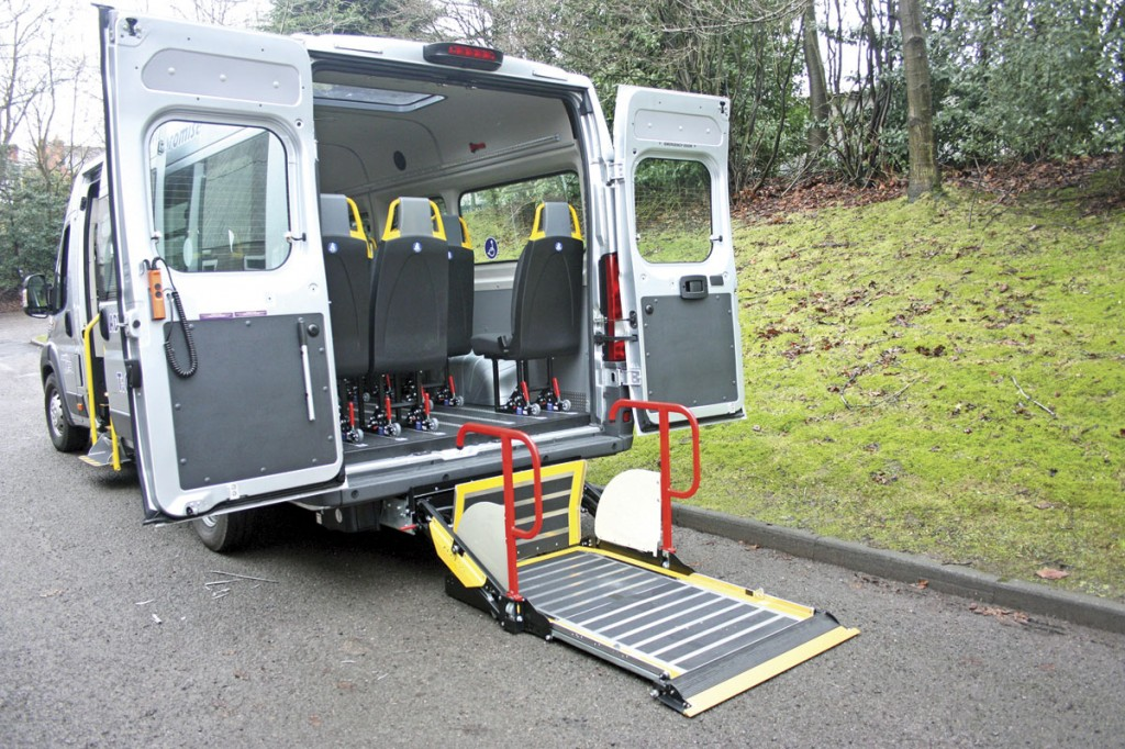 The rear doors fold fully back allowing the PLS lift to be used