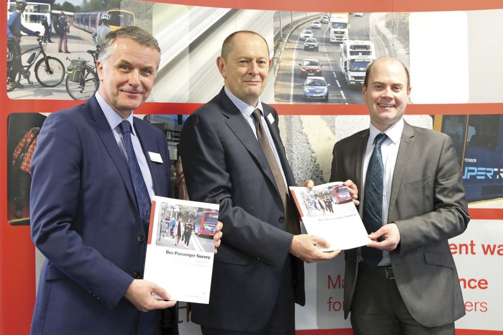 David Sidebottom and Anthony Smith of Transport Focus with Merseytravel Chair, Liam Robinson