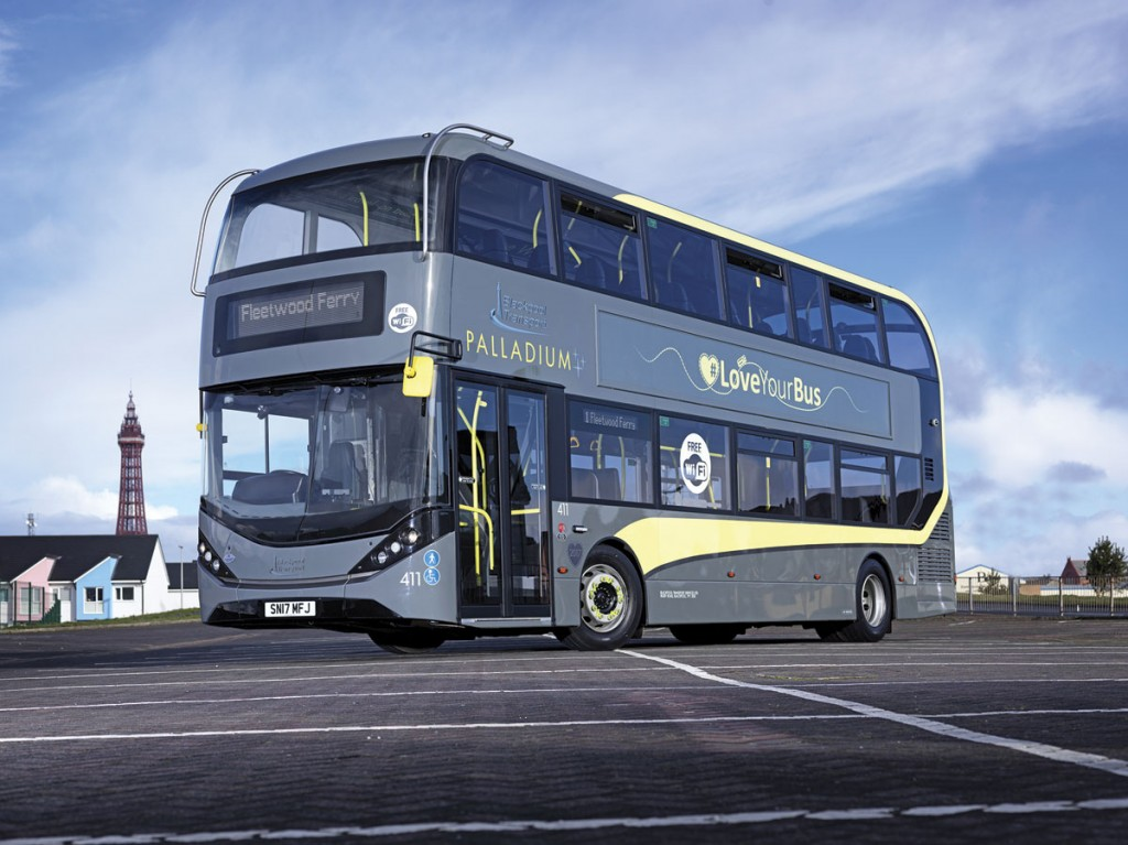 Posed with the iconic Tower in the background, the bespoke Blackpool Enviro400 City has a wrap around screen top and bottom for improved visibility.