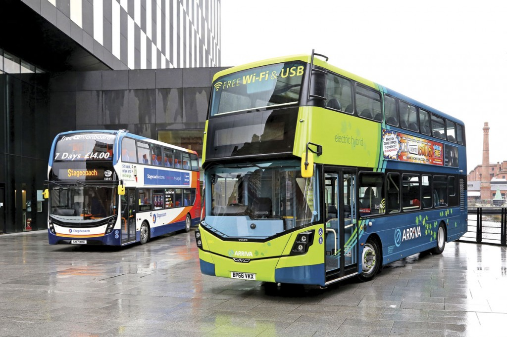 State of the art double-deckers from Stagecoach and Arriva on display outside Merseytravel HQ