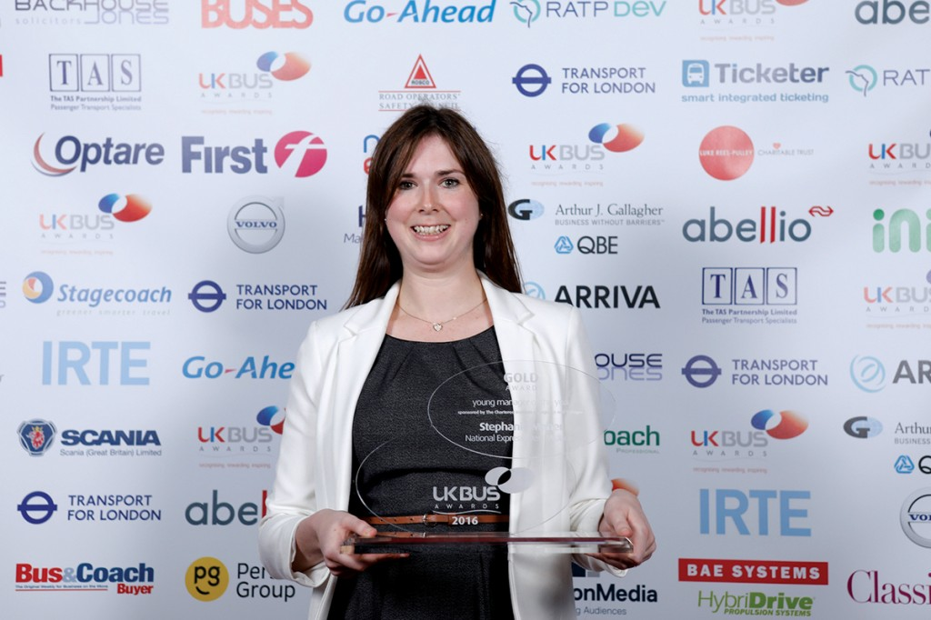 Steph with her UK Bus Awards Young Manager of the Year Award 2016. Picture courtesy of UKBA.
