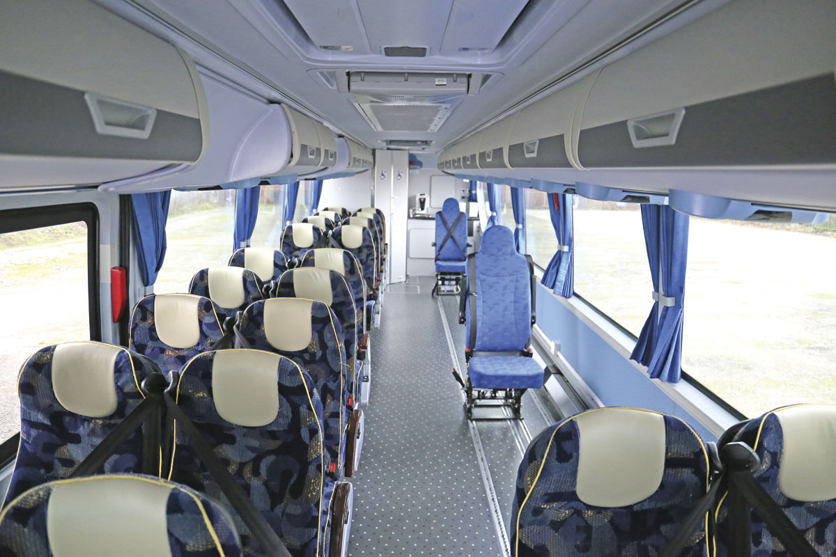 The interior of the Across Trust vehicle