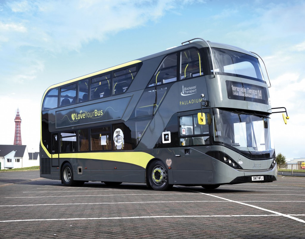 The offside of the Blackpool Enviro400 City with McKenna Brothers destination equipment.