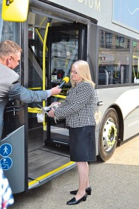 Cllr Christine Wright cuts the ribbon on one of the new specification vehicles. Note the 2017 silver heart behind her