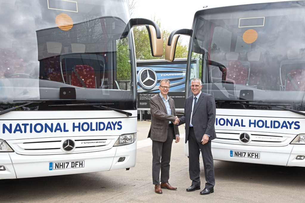 LtoR- Evobus (UK) CEO, Michael Thielmann formally hands over the first of the 2017 Tourismos to National Holidays MD, Graham Rogers