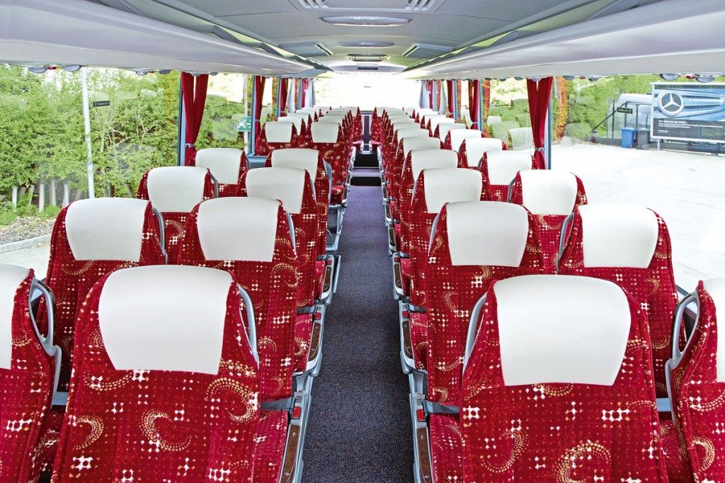 The interior features 48 red fabric trimmed seats