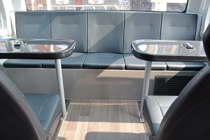 The social seating is a new feature for the 2017 buses