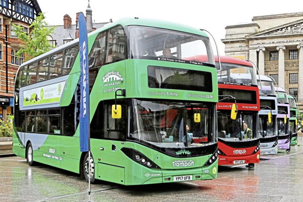 Five new Scania gas buses, each carrying a different route branding were displayed in Nottingham's Old Market Square