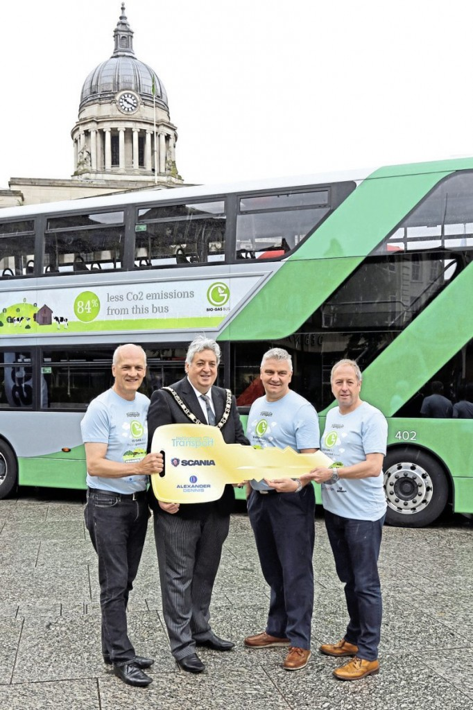 LtoR - Mark Fowles, the Mayor, Scania (GB) Ltd UK Bus and Coach Fleet Sales Manager, Mark Oliver and ADL Sales Director, Richard Matthews with the symbolic golden key