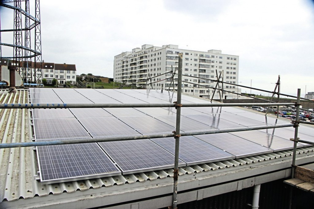 The depot roof mounted solar panels. More are to be installed