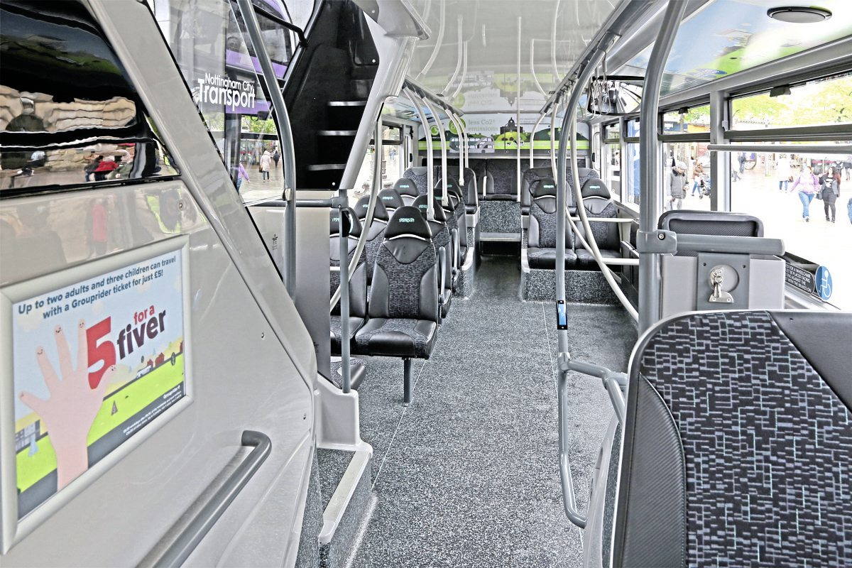 The interior is tastefully finished in shades of grey with graphics promoting bio gas, including the styling panel above the staircase and the gas tank cover at the rear of the upper deck. Note that only four seats are provided in front of the tanks