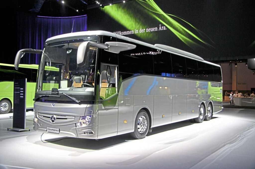A 13.1m left-hand-drive Tourismo M:3. The UK will also be offered a similar length  two-axle coach