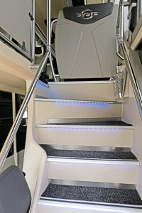 Both staircases have blue LED marker lights and stainless steel litter bins-2