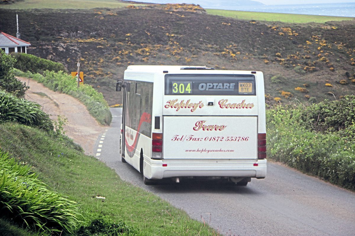 Nearing its destination at Porthtowan on the 304 route is one of the trio of Optare Solos operated