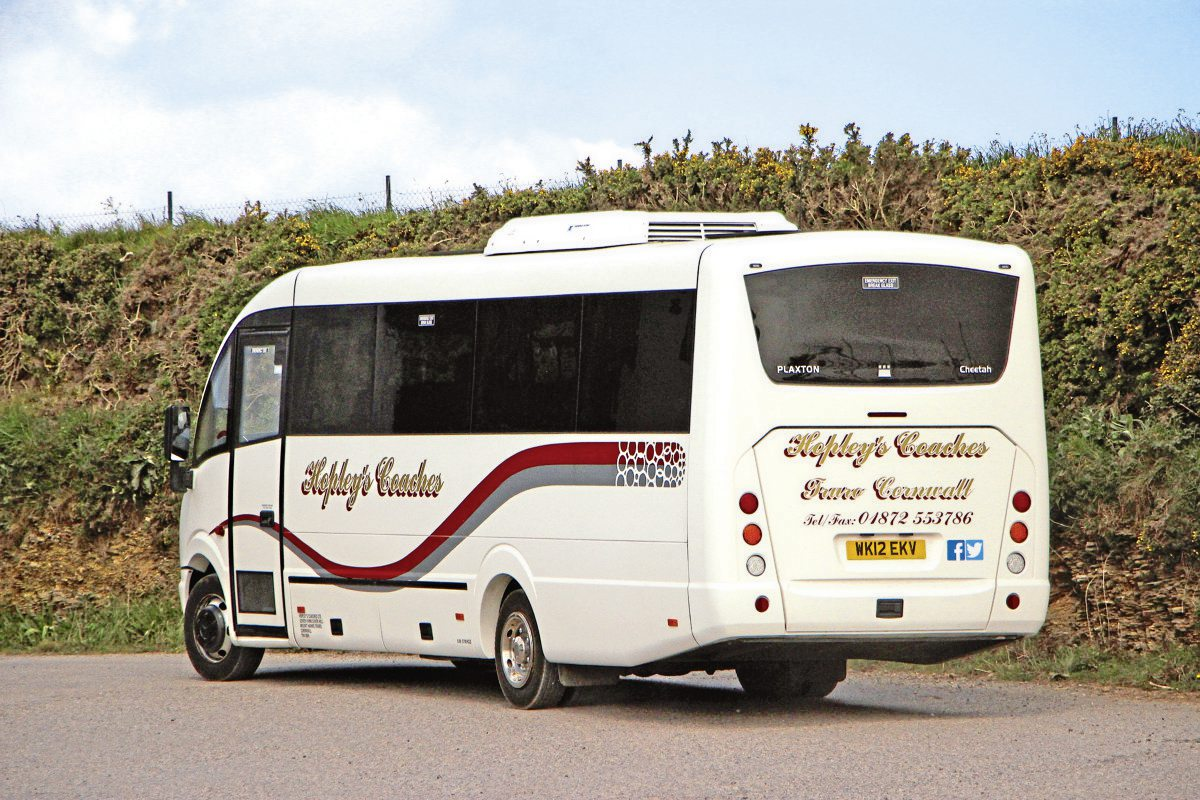 Seen leaving the yard is a 2012 Plaxton Cheetah bodied Mercedes-Benz Vario