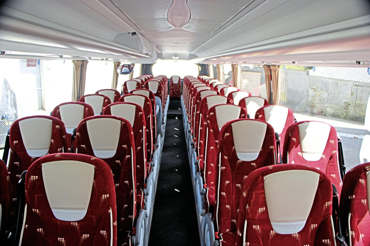 The 53 seat interior of the latest Irizar i6 integral