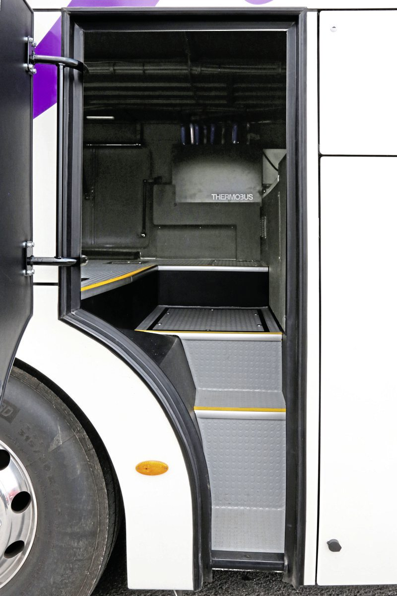 The extensive rear luggage compartment is reached by a nearside door and vertical locker doors on either side-1