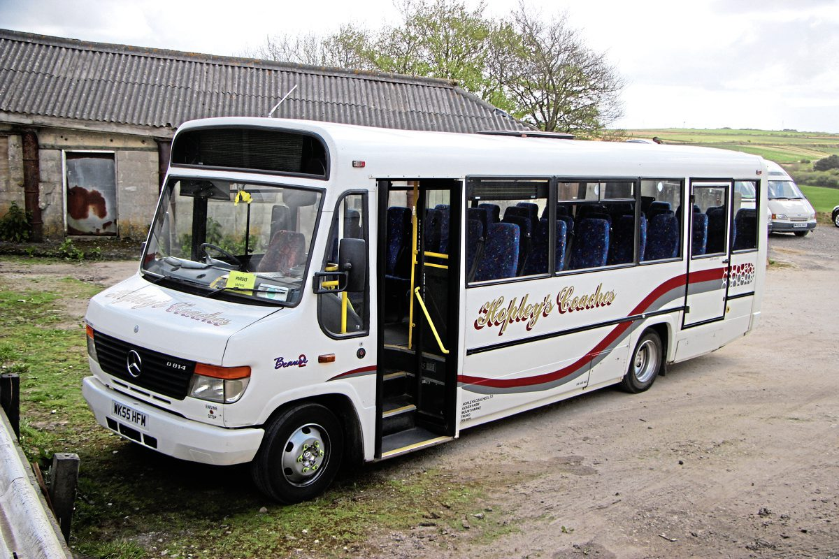 The smallest member of the school bus fleet is this Plaxton Beaver Vario O814