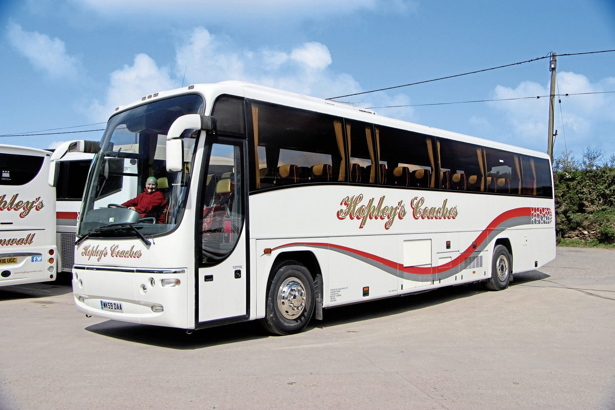 Used on private hire work is this 59 plate Volvo B12m with 12.8m Plaxton Panther body