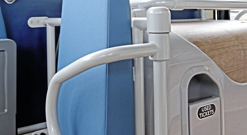 A single wheelchair position is provided aft of the front-nearside wheelarch. A used ticket bin is neatly incorporated into the available space
