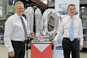 Alan Atkinson and Colin Robertson cut the cake celebrating 110 years of Plaxton
