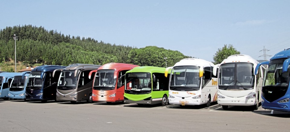 Demonstrating the breadth of the current Irizar range, this unposed line up in the yard at Ormaiztegi includes i4, i6S, i8, i6 Integral, i6 on chassis, i3 and North American specification i6 models of various lengths.