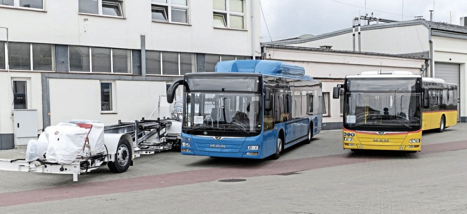 Newly completed buses at Starachowice. The vehicle in the centre is a CNG fuel Lion's City for Tbilisi in Georgia which has taken 100