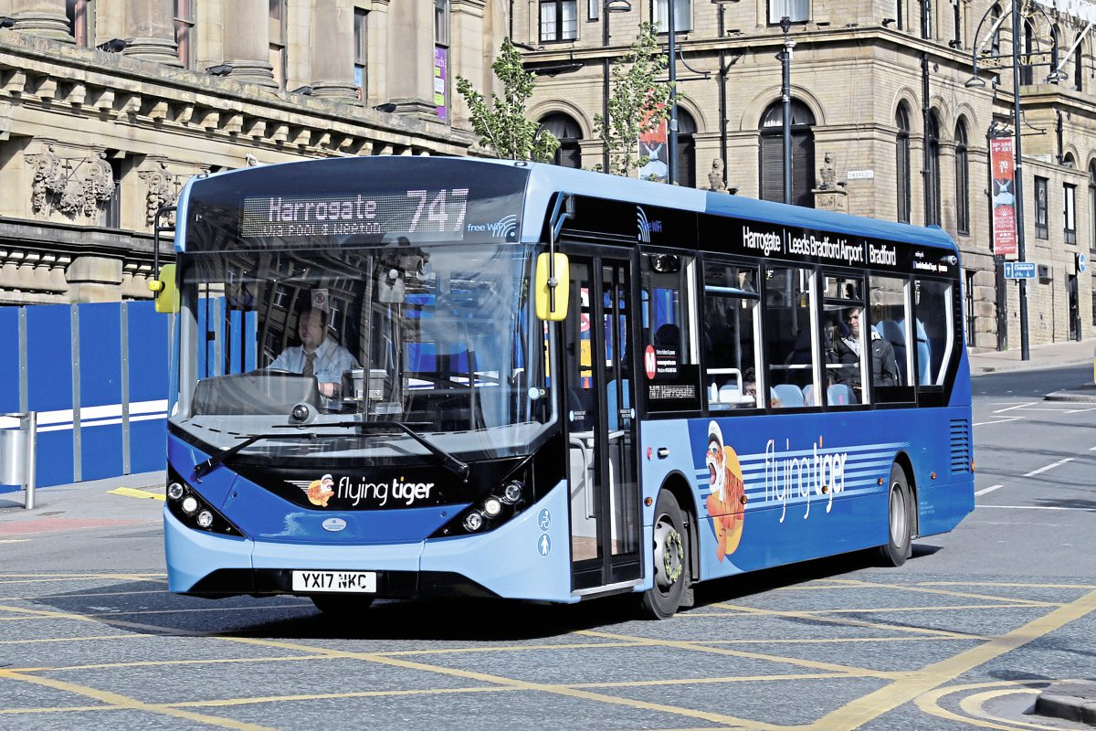 On the first weekend in service, one of the Enviro200 MMCs leaves Bradford for Harrogate