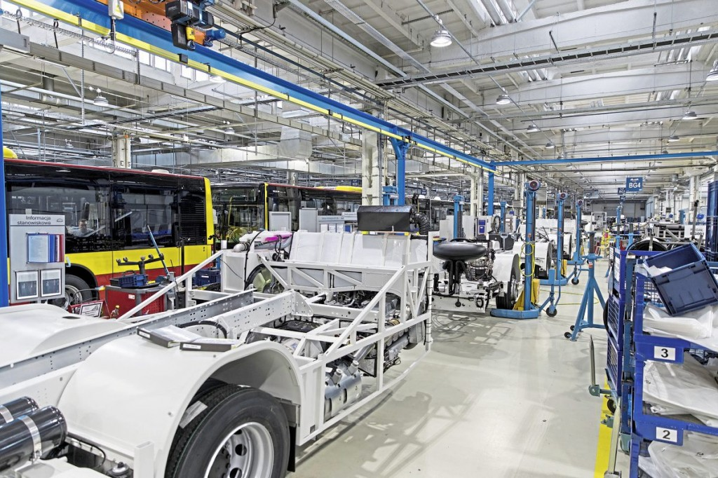 The plant builds chassis as well as complete buses. Arriva's order for CNG-fuelled Lion's City bus chassis for Runcorn will pass down these lines