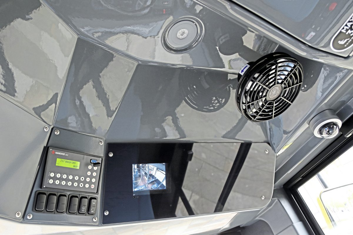Ventilation, CCTV camera, LED lighting and displays for the Hanover Displays and CCTV feature above the windscreen