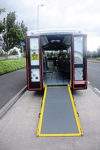 Fully-opening rear doors and ramp for wheelchair access. A solid rear end with wheelchair access through the side entrance is an option