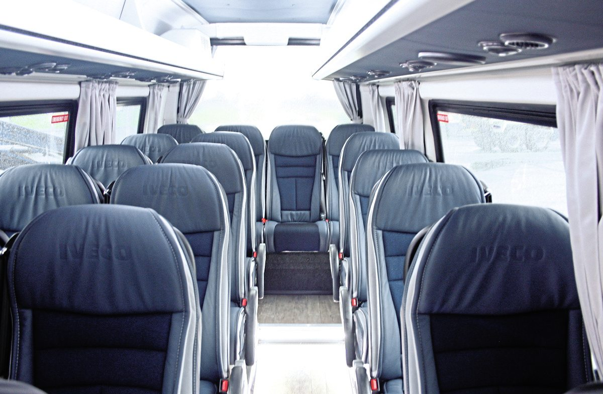 The interior showing trim and fittings. This vehicle has seating for 19