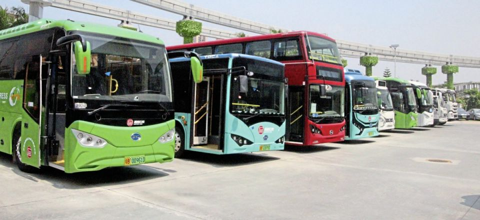 A line-up of some of the electric bus and coach products that BYD offers. Five of the double-deckers are operating in London