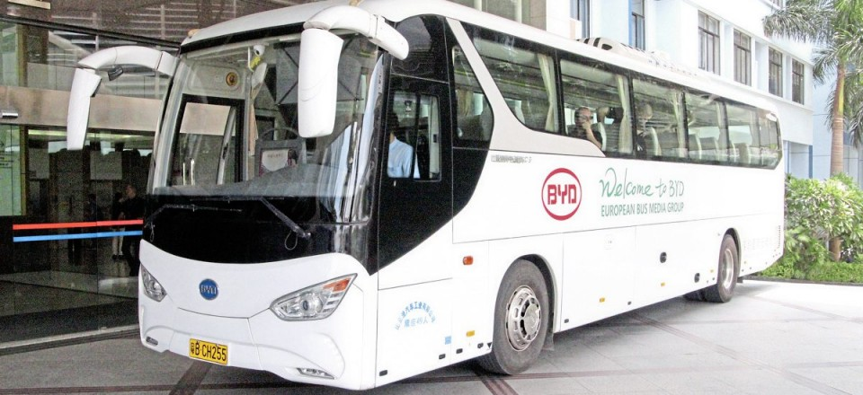During our stay we travelled on this specially decorated 12.9m BYD C9 electric coach