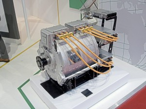 An electric motor suitable for electric bus applications displayed by Actia
