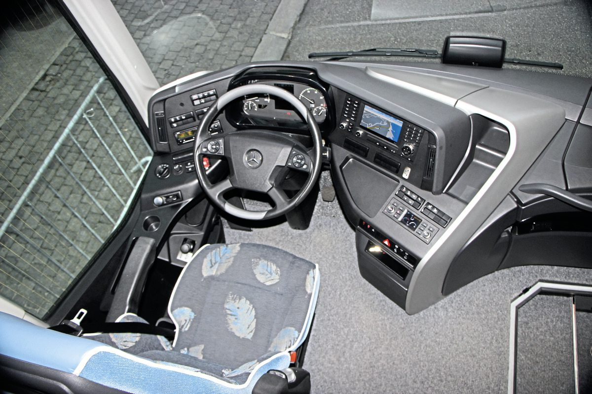 The Comfort Plus cab design with waterfall brightwork moulding to the platform side