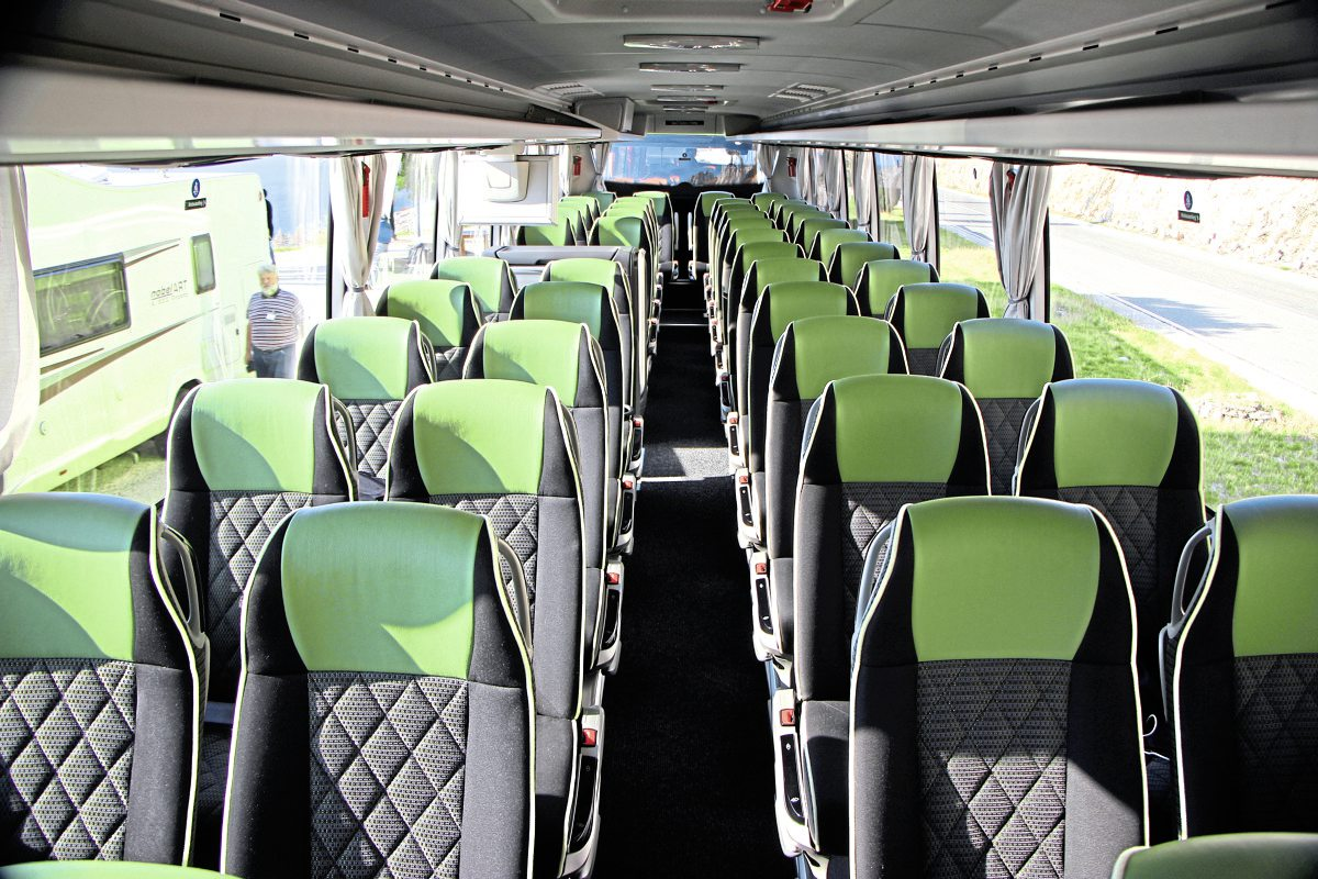 The Tourismo M/2 featured 48 Travel Star Eco recliners, centre toilet, servery and continental door