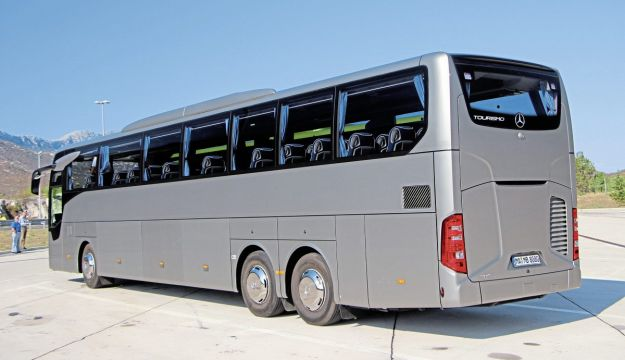 This rear view of the Tourismo L shows the rear spoiler that contributes to the low drag coefficient of 0.33