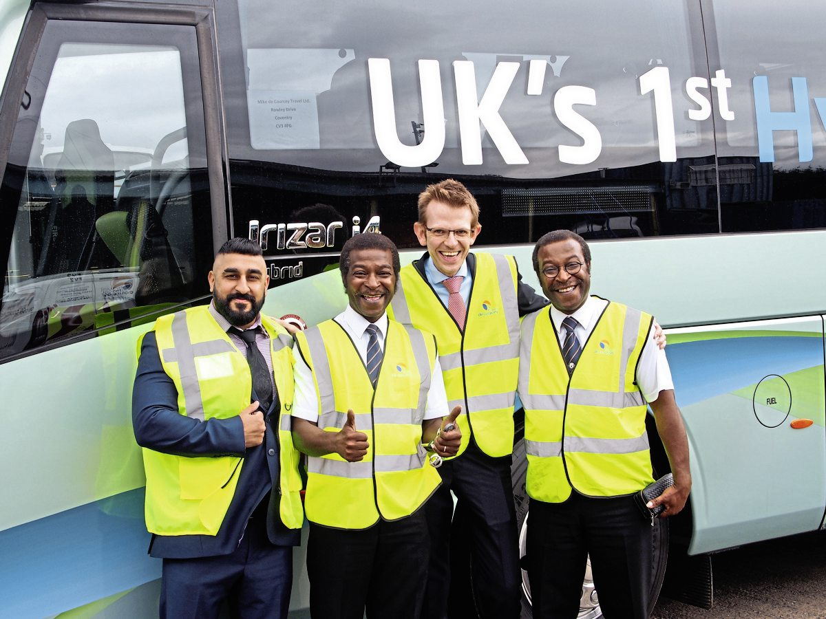 (L to R) Jaggi Randhawa, Delrick Reid, Adrian de Courcey and Besley Reid – giving the thumbs up for the Irizar hybrid