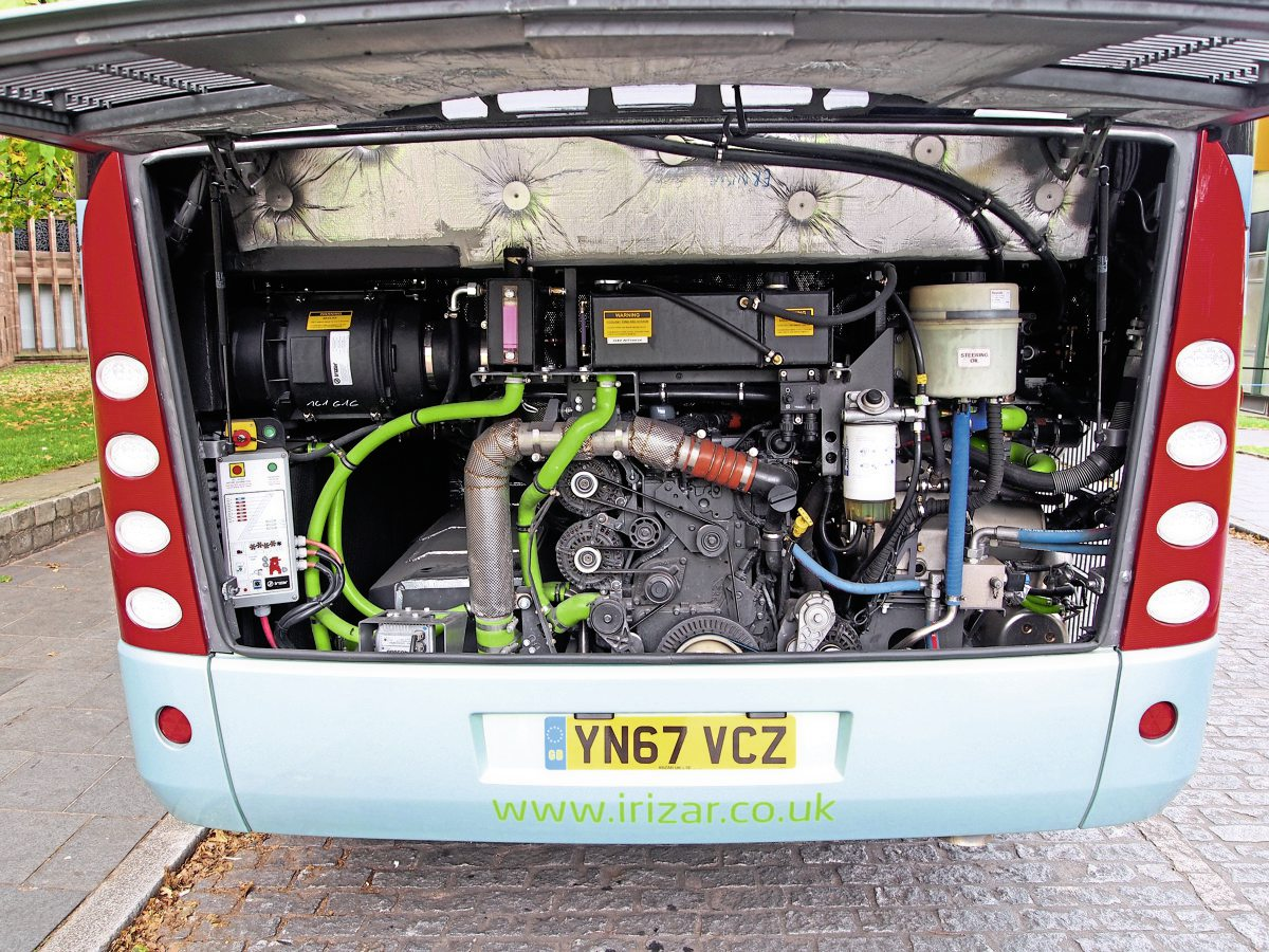 The engine compartment of the hybrid