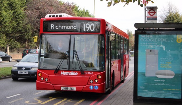 The unusual MCV bodied ADL Enviro200 on which we crossed Mortlake Bridge after dropping us at Mortlake Road