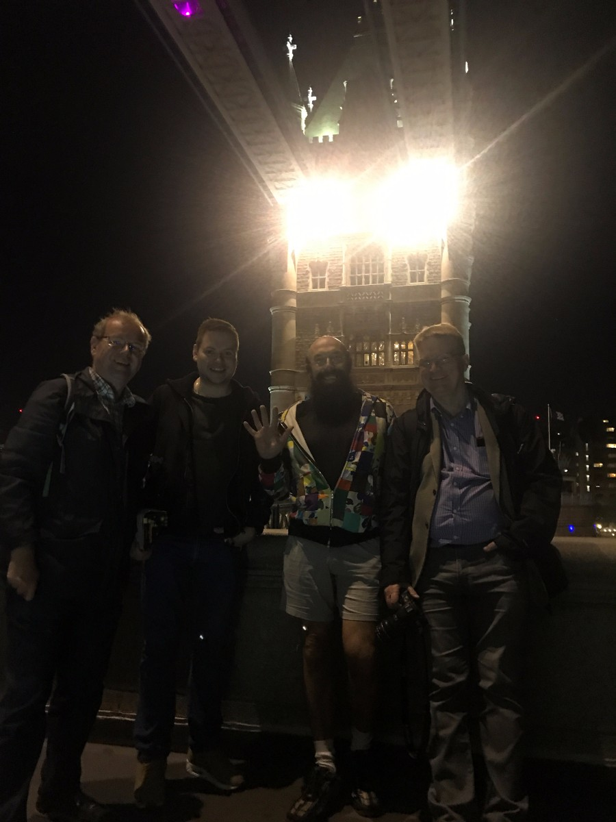 Tower bridge end of the trip.  The four still standing, Roger, Martijn, Ray and myself, pose on Tower Bridge. I once went to an Iveco Christmas press party held on the walkways between the two towers