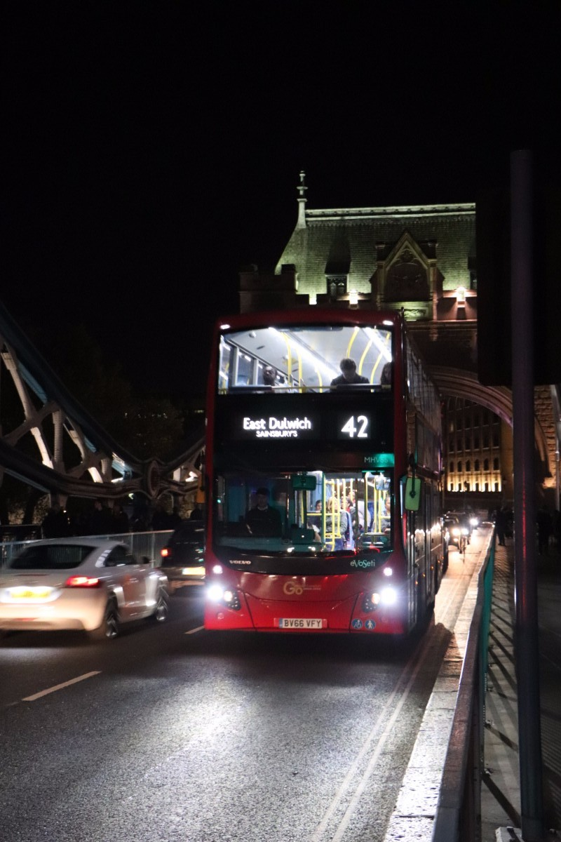 An MCV EvoSeti Volvo B5LH Hybrid crosses Tower Bridge minutes after we had completed our challenge