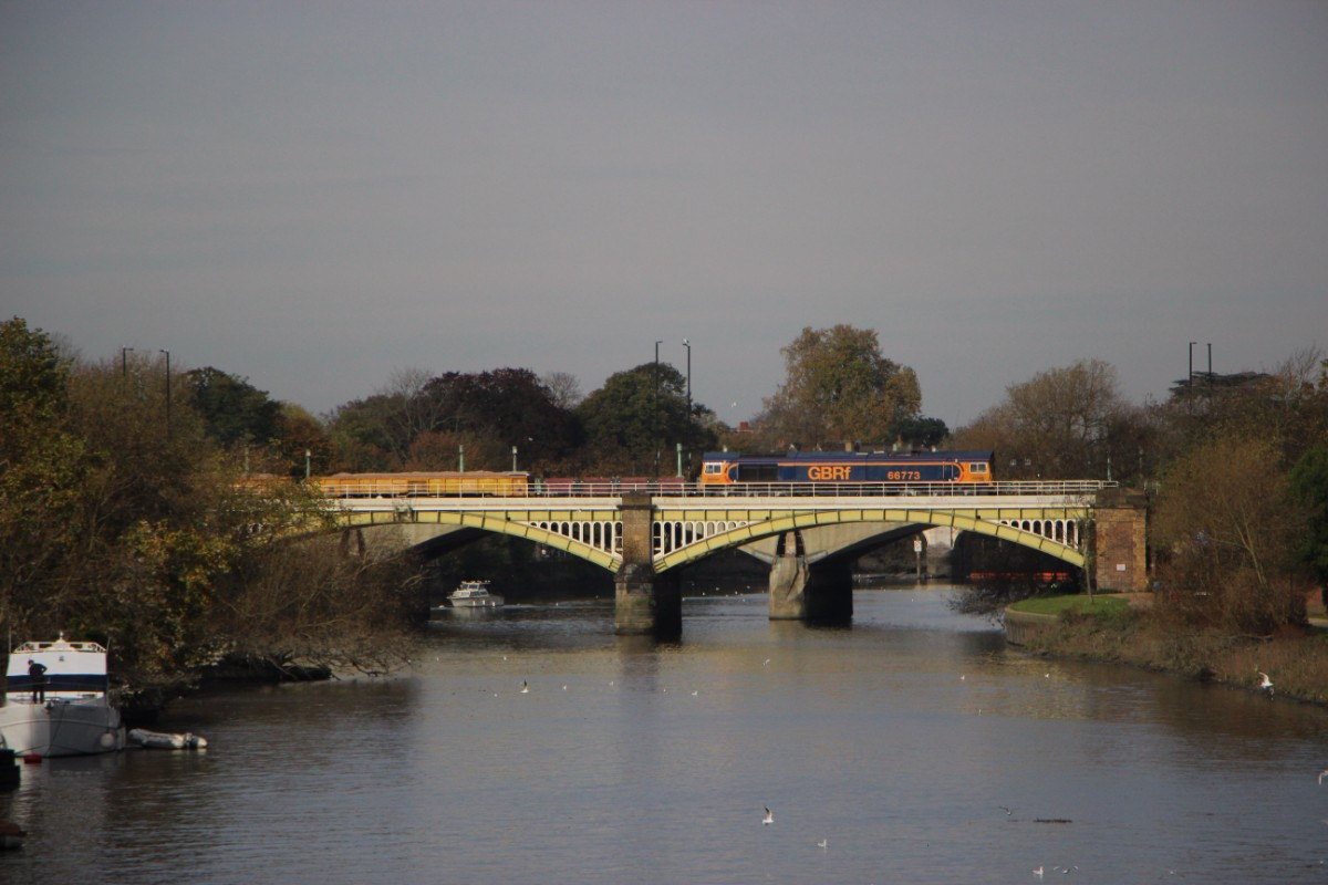 Not all bridges carry bus services, some such as Richmond Railway Bridge (with Twickenham Bridge visible beyond) are for trains only. A GBFr Class 66 with what looked like an engineering train passed as I took the picture