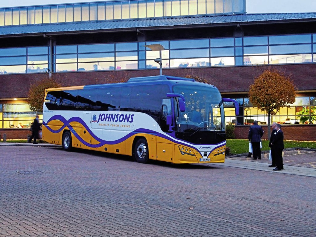 A Plaxton-bodied Volvo B11R took attendees to and from Warwick train station